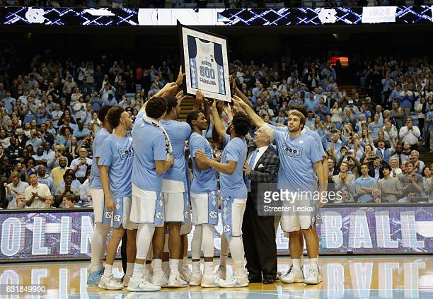Head coach Roy Williams of the North Carolina Tar Heels celebrates after his 800th career victory with a 8568 win over the Syracuse Orange at the...