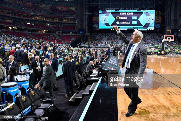 Head coach Roy Williams of the North Carolina Tar Heels celebrates after the win during the 2017 NCAA Photos via Getty Images Men's Final Four...