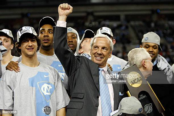 Head coach Roy Williams of the North Carolina Tar Heels celebrates after defeating the Michigan State Spartans 8972 during the 2009 NCAA Division I...