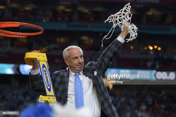 Head coach Roy Williams of the North Carolina Tar Heels cuts the net following their 7165 victory against the Gonzaga Bulldogs during the 2017 NCAA...