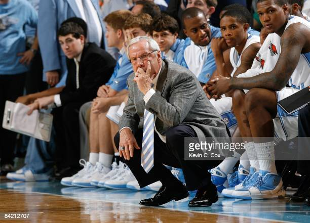 Head Coach Roy Williams of the North Carolina Tar Heels looks on from the Tar Heels bench area during their game against the Boston College Eagles on...
