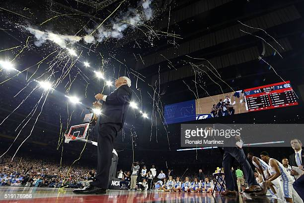 Head coach Roy Williams of the North Carolina Tar Heels reacts after being defeated by the Villanova Wildcats 7774 in the 2016 NCAA Men's Final Four...