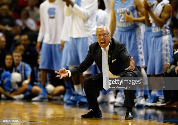 Head coach Roy Williams of the North Carolina Tar Heels reacts during the third round of the 2014 NCAA Men's Basketball Tournament against the Iowa...