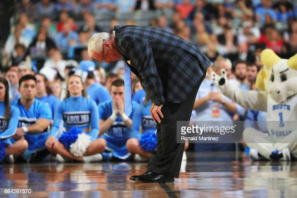 Head coach Roy Williams of the North Carolina Tar Heels reacts in the second half against the Gonzaga Bulldogs during the 2017 NCAA Men's Final Four...