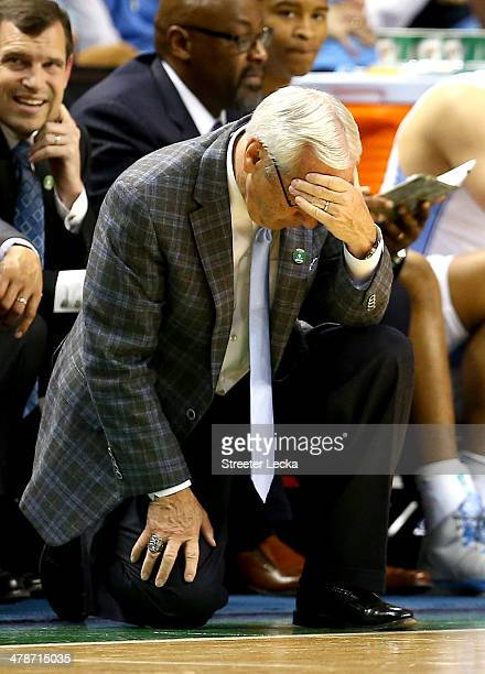 Head coach Roy Williams of the North Carolina Tar Heels reacts against the Pittsburgh Panthers during the quarterfinals of the 2014 Men's ACC...