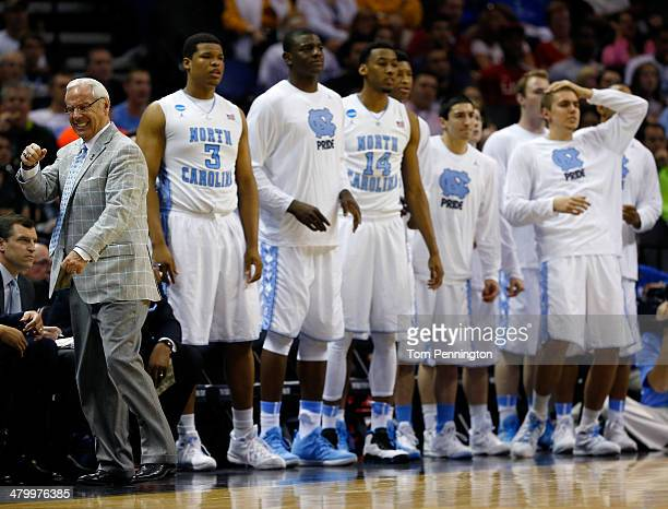 Head coach Roy Williams of the North Carolina Tar Heels reacts to a play in the second half against the Providence Friars during the second round of...