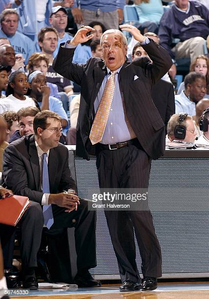Head coach Roy Williams of the North Carolina Tar Heels reacts to a foul during a game against the Clemson Tigers on February 4, 2006 at the Dean...