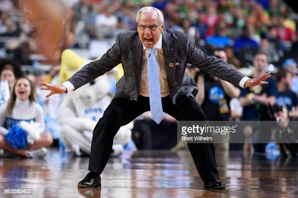 Head coach Roy Williams of the North Carolina Tar Heels reacts to a play during the 2017 NCAA Men's Final Four Semifinal against the Oregon Ducks at...