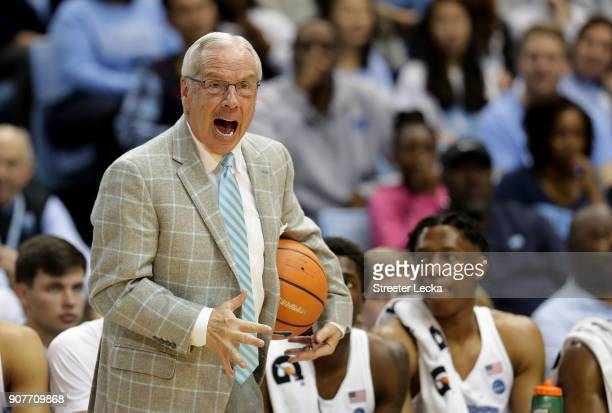 Head coach Roy Williams of the North Carolina Tar Heels yells to his team during their game against the Georgia Tech Yellow Jackets at Dean Smith...