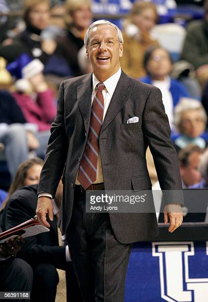 Head coach Roy Williams of the University of North Carolina Tar Heels watches the game against the University of Kentucky Wildcats on December 3 2005...