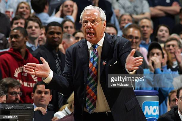 Head Coach Roy Williams of the University of North Carolina Tar Heels gestures from the sideline against the University of Southern California...