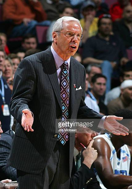 Head coach Roy Williams of the University of North Carolina Tar Heels gestures from the sidelines against the Georgetown Hoyas during the NCAA Men's...