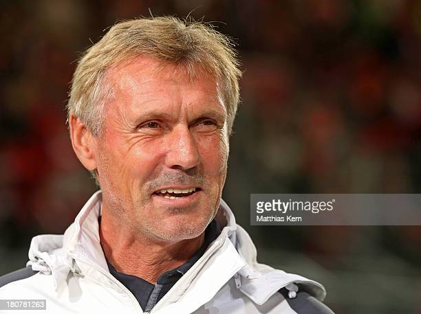 Head coach Rudi Bommer of Cottbus looks on prior to the Second Bundesliga match between FC Energie Cottbus and 1.FC Koeln at Stadion der Freundschaft...