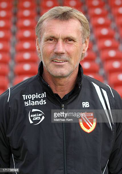 Head coach Rudi Bommer poses during the FC Energie Cottbus team presentation at Stadion der Freundschaft on June 28, 2013 in Cottbus, Germany.