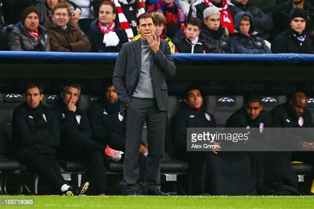 Head coach Rudi Garcia of Lille reacts during the UEFA Champions League group F match between FC Bayern Muenchen and LOSC Lille at Allianz Arena on...