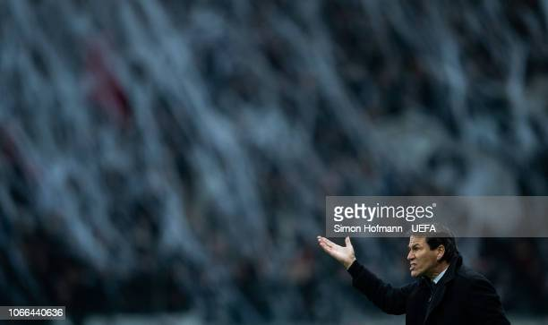 Head coach Rudi Garcia of Marseille reacts during the UEFA Europa League Group H match between Eintracht Frankfurt and Olympique de Marseille at...
