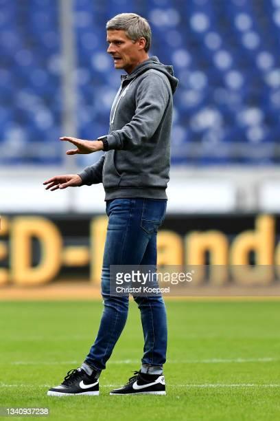 Head coach Ruediger Ziehl of Havelse looks on prior to the 3. Liga match between TSV Havelse and Viktoria Köln at Wilhelm-Langrehr-Stadion on...