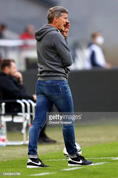 Head coach Ruediger Ziehl of Havelse reacts during the 3. Liga match between TSV Havelse and Viktoria Köln at Wilhelm-Langrehr-Stadion on September...