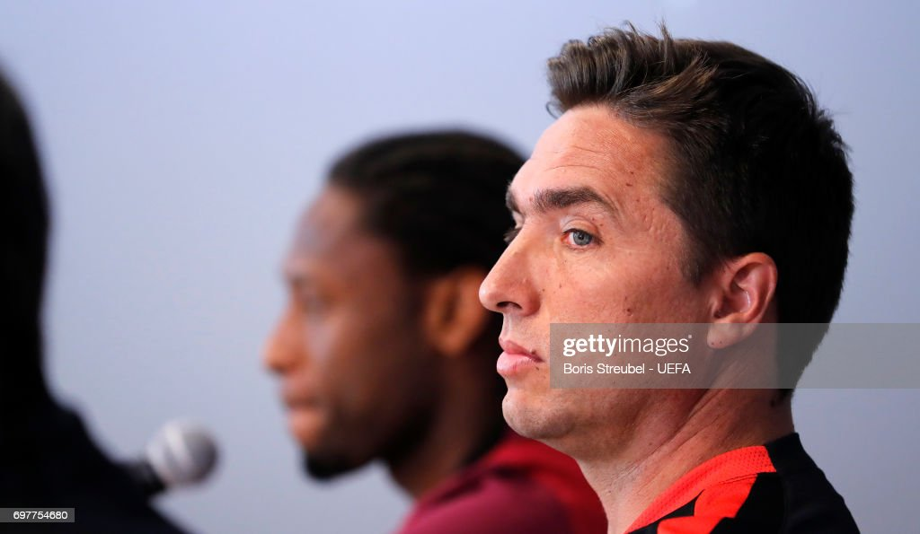 Head coach Rui Jorge (R) and player Ruben Semedo of Portugal attend the MD-1 Press conference at Gdynia Sports Arena on June 19, 2017 in Gdynia, Poland.
