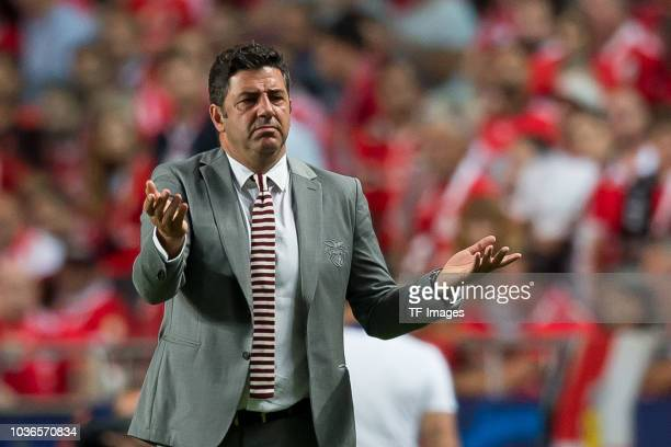 Head coach Rui Vitoria of Benfica Lissabon gestures during the UEFA Champions League Group E match between SL Benfica and FC Bayern Muenchen at...