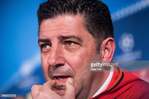 Head coach Rui Vitoria of Benfica looks on during the press conference prior the UEFA Champions League Round of 16 second leg match between Borussia...