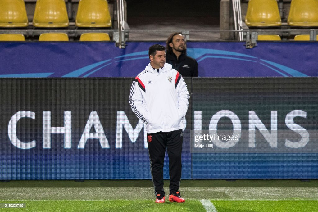 Head coach Rui Vitoria of Benfica looks on during the training prior the UEFA Champions League Round of 16 second leg match between Borussia Dortmund and SL Benfica at Signal Iduna Park on March 7, 2017 in Dortmund, Germany.