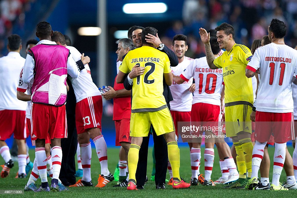 Head coach Rui Vitoria of SL Benfica embraces goalkeeper Julio Cesar Soares after winning the the UEFA Champions League Group C match between Club Atletico de Madrid and SL Benfica at Vicente Calderon Stadium on September 30, 2015 in Madrid, Spain.