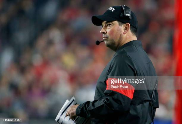 Head coach Ryan Day of the Ohio State Buckeyes during the first half of the College Football Playoff Semifinal against the Clemson Tigers at the...