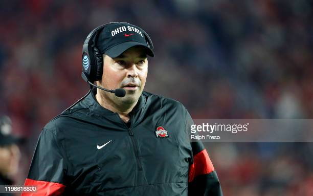 Head coach Ryan Day of the Ohio State Buckeyes during the second half of the College Football Playoff Semifinal against the Clemson Tigers at the...