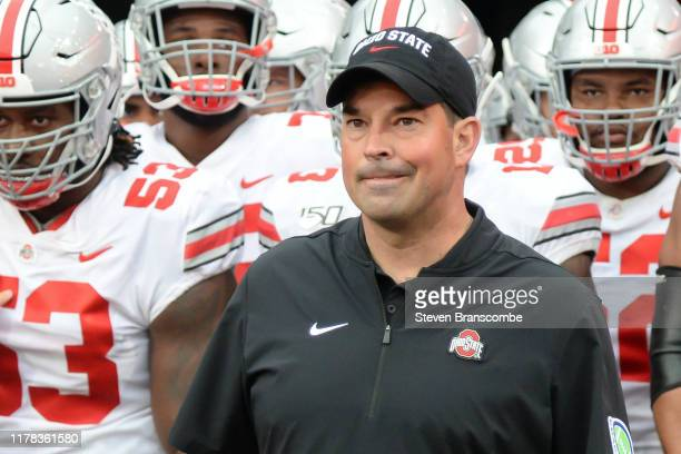 Head coach Ryan Day of the Ohio State Buckeyes gets ready to lead the team on the field before the game against the Nebraska Cornhuskers at Memorial...