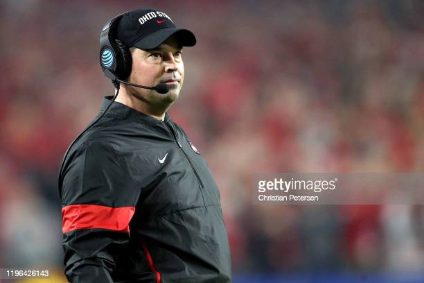 Head coach Ryan Day of the Ohio State Buckeyes looks on against the Clemson Tigers in the first half during the College Football Playoff Semifinal at...