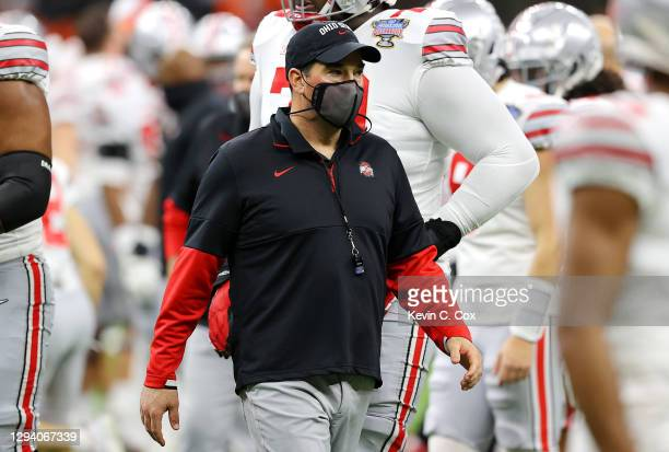 Head coach Ryan Day of the Ohio State Buckeyes looks on before the game against the Clemson Tigers during the College Football Playoff semifinal game...
