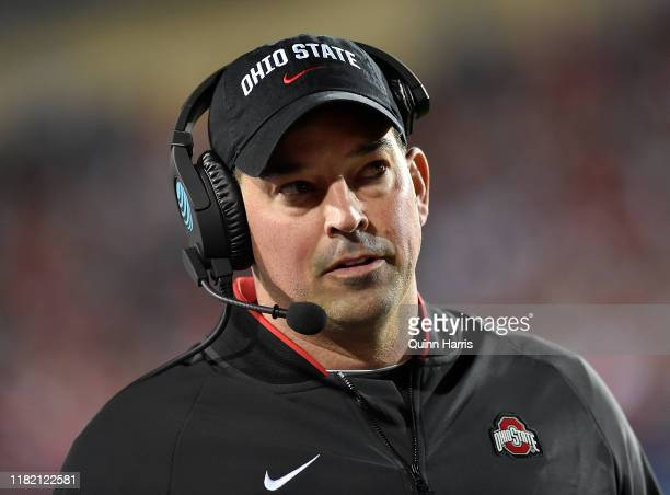 Head coach Ryan Day of the Ohio State Buckeyes looks on in the first quarter against the Northwestern Wildcats at Ryan Field on October 18 2019 in...