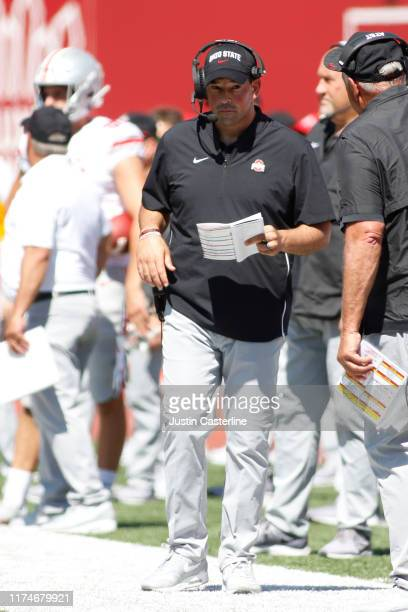 Head coach Ryan Day of the Ohio State Buckeyes on the sidelines in the game against the Indiana Hoosiers during the third quarter at Memorial Stadium...