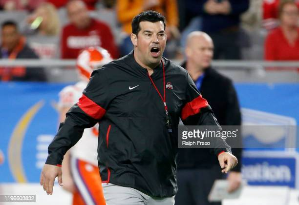 Head coach Ryan Day of the Ohio State Buckeyes prior to the start of the College Football Playoff Semifinal against the Clemson Tigers at the...
