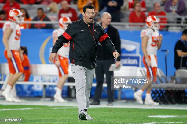 Head coach Ryan Day of the Ohio State Buckeyes reacts against the Clemson Tigers in the first half during the College Football Playoff Semifinal at...