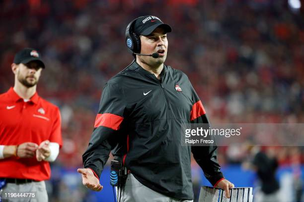 Head coach Ryan Day of the Ohio State Buckeyes reacts against the Clemson Tigers in the second half during the College Football Playoff Semifinal at...