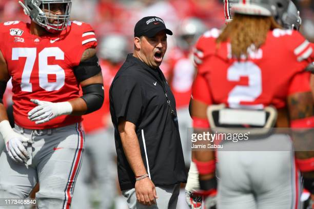 Head Coach Ryan Day of the Ohio State Buckeyes shouts instructions to his team before a game against the Cincinnati Bearcats at Ohio Stadium on...