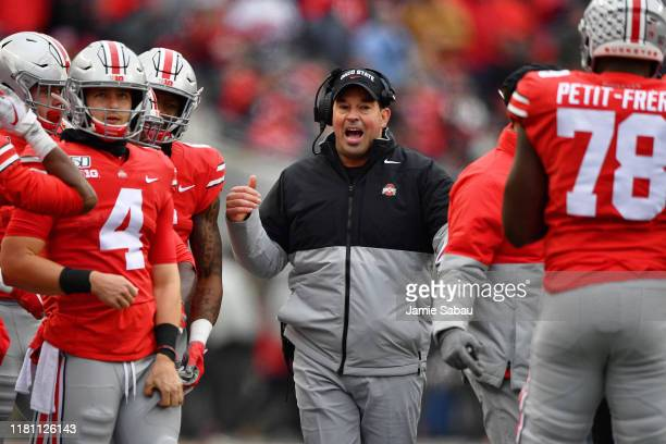 Head coach Ryan Day of the Ohio State Buckeyes shouts instructions to his team in the third quarter against the Maryland Terrapins at Ohio Stadium on...
