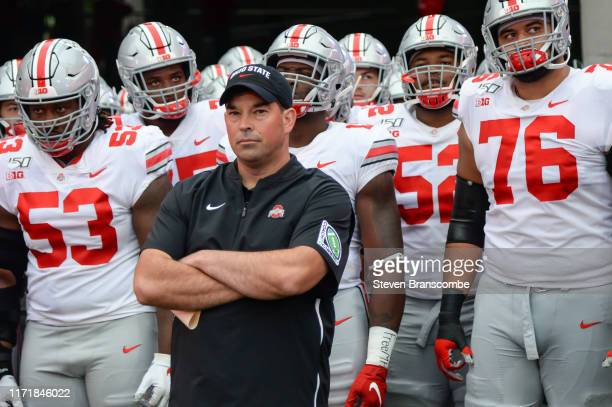 Head coach Ryan Day of the Ohio State Buckeyes waits with his team to take the field before the game against the Nebraska Cornhuskers at Memorial...