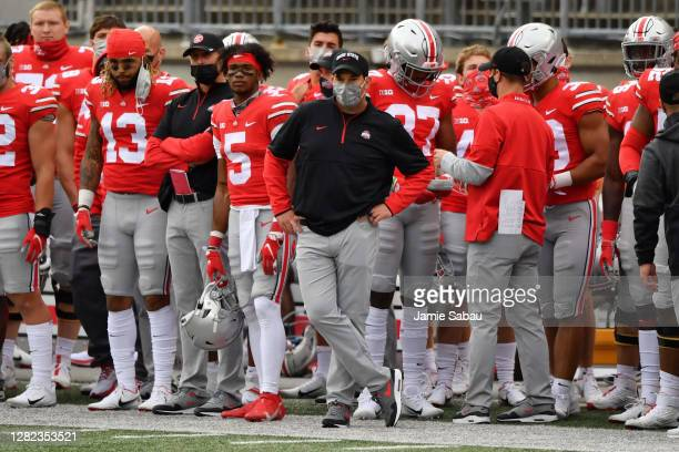 Head Coach Ryan Day of the Ohio State Buckeyes watches his team in action against the Nebraska Cornhuskers at Ohio Stadium on October 24, 2020 in...