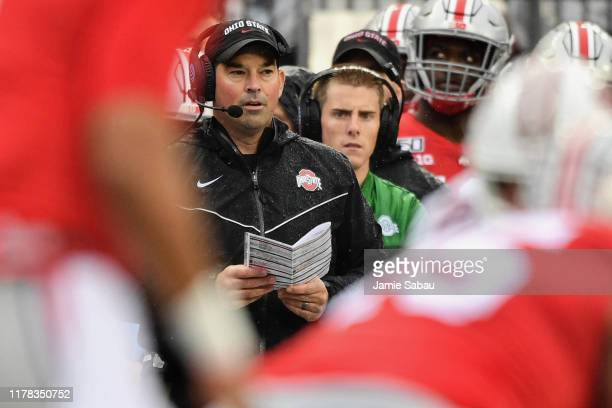 Head coach Ryan Day of the Ohio State Buckeyes watches his team on offense in the first quarter against the Wisconsin Badgers at Ohio Stadium on...