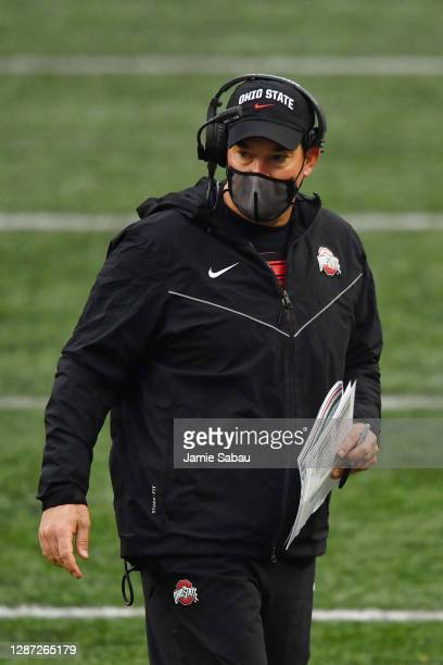 Head Coach Ryan Day of the Ohio State Buckeyes watches his team play against the Indiana Hoosiers at Ohio Stadium on November 21, 2020 in Columbus,...