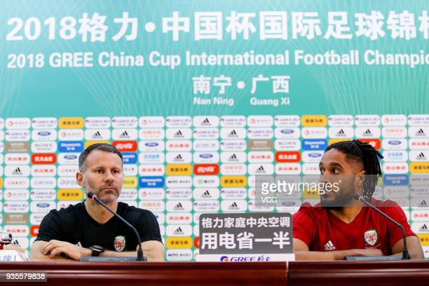 Head coach Ryan Giggs of Wales and his player Ashley Williams attend a press conference ahead of the 2018 China Cup International Football...