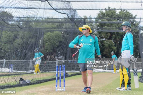 Head Coach Ryan Harris of Australia and Will Sutherland of Australia look on during an Australian training session at Bay Oval on February 2 2018 in...