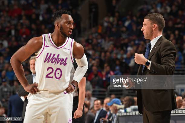 Head Coach Ryan Saunders speaks with Josh Okogie of the Minnesota Timberwolves during the game against the Philadelphia 76ers on January 15, 2019 at...