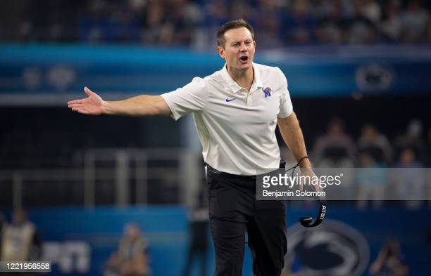 Head coach Ryan Silverfield of the Memphis Tigers during the Goodyear Cotton Bowl Classic at ATT Stadium on December 28 2019 in Arlington Texas