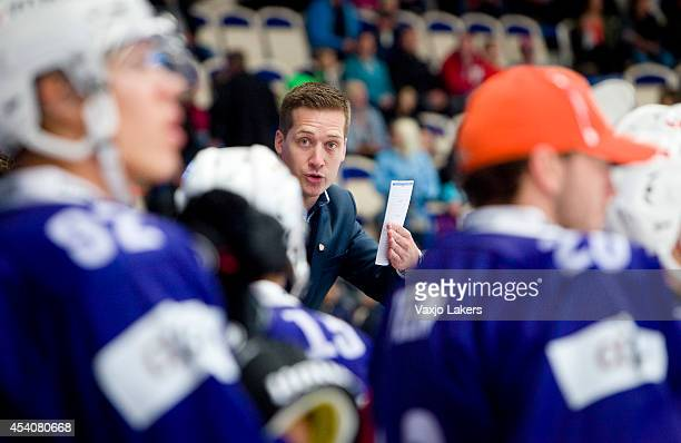 Head coach Sam Hallam of Vaxjo Lakers gestures during the Champions Hockey League group stage game between Vaxjo Lakers and Sparta Prague on August...