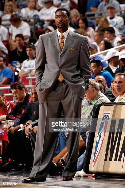 Head coach Sam Mitchell of the Toronto Raptors watches the action against the Orlando Magic in Game One of the Eastern Conference Quarterfinals...