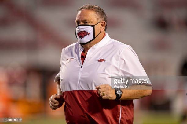 Head coach Sam Pittman of the Arkansas Razorbacks jogs off the field before a game against the Tennessee Volunteers at Razorback Stadium on November...